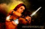 Red Sonja under boobs