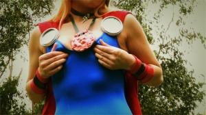 Thor rubs her nipples