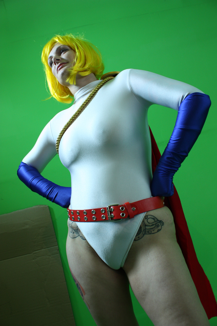 power girl in tight spandex